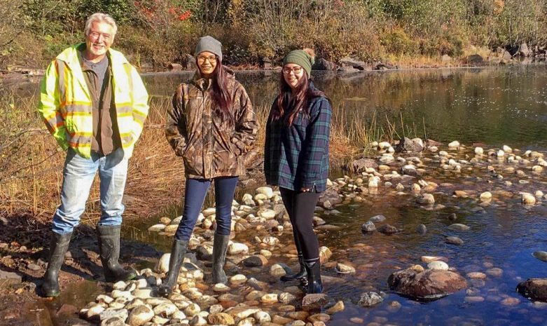 Ivan, Kacie and Mckaylii stand proudly over a new walleye spawning shoal.
