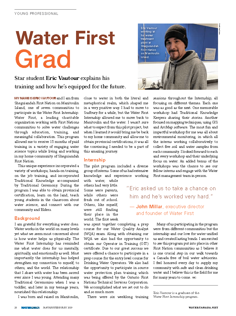 Internship valedictorian article in Water First