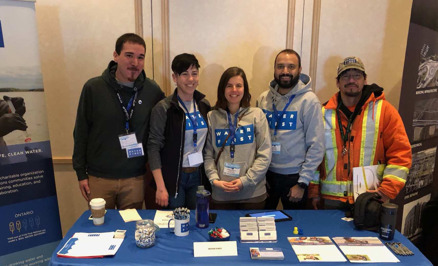 Water First staff and internship graduates at the 24th Annual Aboriginal Water and Wastewater Association of Ontario Training Conference and Tradeshow in Thunder Bay, Ontario